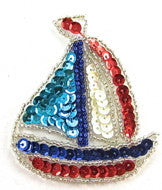 "Sail Boat with MultiColors 3"" x 2.5"""