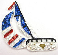 "Sailboat World Cup Red/white/blue Sequins 8"" x 7"""