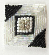 Designer Motif with Rhinestones and Pearls Black/White Beads 1.5""