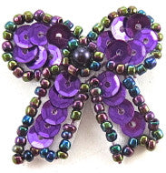 "Bow with Light Purple Sequins and Moonlight Beads 1.25"" x 1.25"""