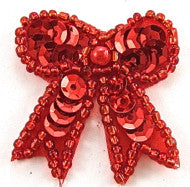 Bow with Red Sequins and Beads  1.5""