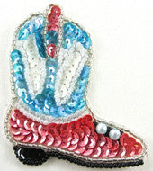 Boot Western Style with Blue/White/Rose Sequins 2.75 x 2.5""