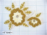 "Flower with White Sequins Gold and White Beads and Rhinestones 3"" x 5"""