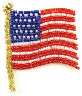 Patriotic American Flag All Red/White/Blue Beads 3""