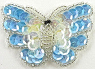 "Butterfly Light Blue Iridescent Sequins/Beads 1.5"" x 1.25"""
