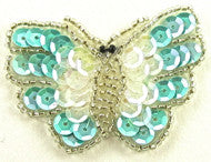 Butterfly Light Turquoise Iridescent Sequins and Beads 2.5""