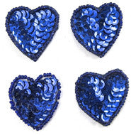 Heart Set of 4 Royal Blue sequins and Beads 1.5""