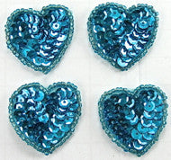 Hearts Set of Four with Blue Sequins and Beads 1.5""