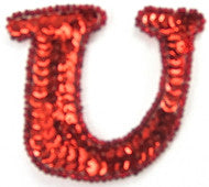 "Letter U with Red Sequins and Beads 2.25"" X 2.5"""