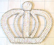 "Crown with White Sequins and Silver Beads  4.25"" x 3.5"""