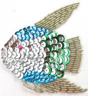 "Fish Turqoise and Silver 3.5"" x 3.5"""
