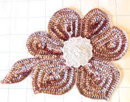 "Flower with Dusty Pink Sequins White Beads 7.5"" x 5"""