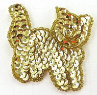 "Cat Gold Sequins and Beads Pearl Eyes 2"" x 2"""