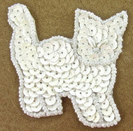 "Cat White Sequins and Beads 2.25"" x 2"""