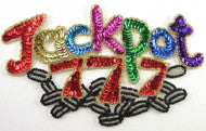 "JACKPOT MultiColored Sequins and Beads 4.25"" x 7"""