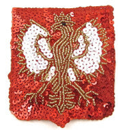 "Eagle Emblem Patch with Red Sequins 3"" x 3"""