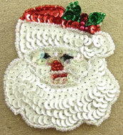 "Santa with Beard and Hat Red and White, 3"" x 2.5"""