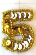 "Number Five  Gold 1.25"" x 1"""