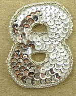 "Number 8 Silver Sequins and Beads 2.25"" x 2"""