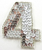 "Number Four Silver Sequins and Beads 2.25"" x 2"""