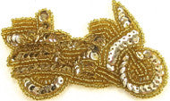 "Motorcycle Gold Sequins and Beads 2"" x 3.25"""