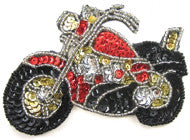 "Motorcycle Red/Black Silver Sequins 4.5""  3.25"""