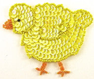 "Chicklet Yellow Sequins and Beads 3.25"" x 4"""