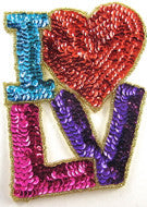 "I  love LV, w/  multi-colored sequins, 5"" x 4"""