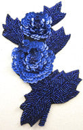 Flower Royal Blue Two Flower Applique 6""
