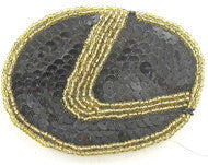 "Lexus Emblem Auto Patch with Black Sequins and Gold Beads  3"" x 4"""