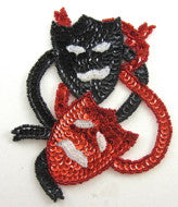 "Mardi Gras Comedy Tragedy Black and Red Sequin Beaded 5.5"" x 4.5"""