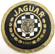 "Jaguar Car Patch with Black, White Gold Sequins and Beads  12"" or 6"""