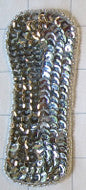 "Letter I Silver Sequins and Beads 4"" x 1.75"""
