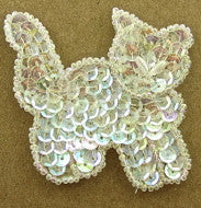 "Cat with Iridescent Sequins and Beads Pearl Eyes  3.25"" x 3"""