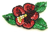 "Flower Red sequins with Green and yellow sequins Sequins and Beads 3.5"" x 2.5"""