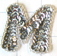 Letter M with Silver Sequins and Beads 2""