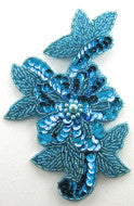 "Flower Turquoise Sequins and Beads 4"" x 5.5"""