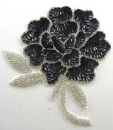 "Flower Black Sequins Silver Beads 6"" x 4"""