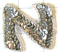 Letter N with Silver Sequins and Beads 2""