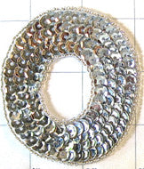 Letter O with Silver Sequins and Beads 3""