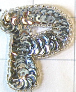 "Letter P with Silver Sequins and Beads 2"" x 2"""
