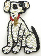 "Dog with White and Black Sequins Red Collar 5"" x 3"""