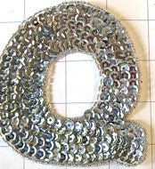 Letter Q with Silver Sequins and Beads 4""