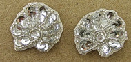 "Seashell Pair Silver with Rhinestone 1"" x 1.25"""