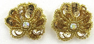 "Sea Shell Pair Gold Sequins AB Rhinestone 1"" ea"