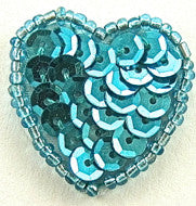 "Heart Turquoise 1"" x 1"""