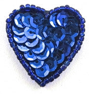 Heart with Royal Blue  Sequins and Beads 1""