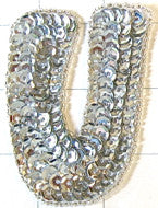 Letter U with Silver Sequins and Beads 3""