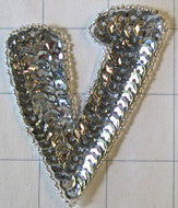 Letter V with Silver Sequins and Beads 3""