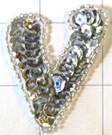 Letter V with Silver Sequins and Beads 2""